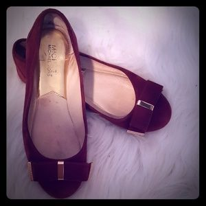 Suede flats bow toe